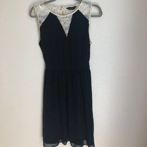 Casual Euro Navy and Lace Dress